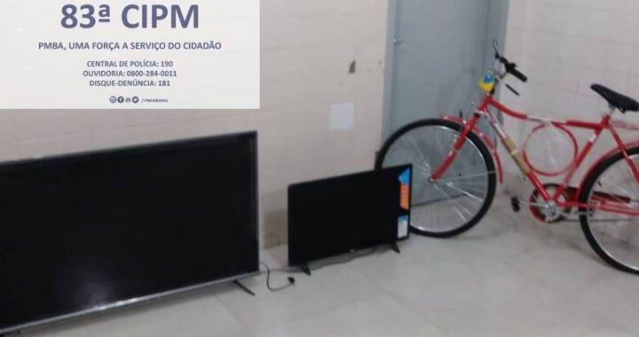 Três indivíduos suspeitos de terem furtados objetos de uma loja no centro de Barreiras são presos pela 83ª CPM